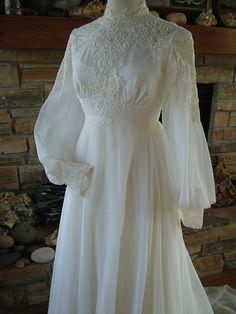 Vintage wedding dress 1970s chiffon with alencon lace bodice. $475.00, via Etsy.