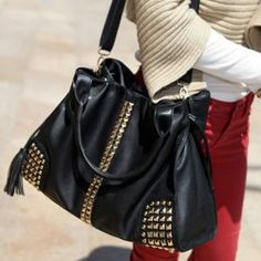 $13.77 Fashion Women's HandBag With Rivets and Tassels Design