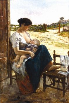 Maternitá -Adolfo Tommasi  (1851, Livorno, Italia- 1933, Florencia, Italia). Su tipo de pintura se considero: Arte Figurativo Realista