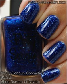 Pretty Serious Cosmetics BSOD Blue Screen of Death #nailpolish #swatches #prettyseriouscosmetics