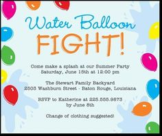 Splash into summer water fun water balloon fun activities and water themed party invitations google search filmwisefo Image collections