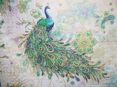 Paisley+Peacock+Bird+Iris+Gold+Hoffman+Punch+Studio+Metallic+Fabric+Yard