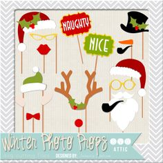 Winter Fun Photo Props SVG Cutting files Collection - Perfect Christmas Photo Booth Props for a Christmas party or family gathering.