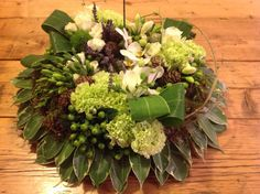 Loose posy pad sympathy design, greens, by Your Flowers
