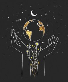 the earth is in our hands 🌻 commission artwork for — would love to do more custom drawing for you all! send me a DM, let's… Pencil Sketch Drawing, Drawing Base, Drawing Ideas, Pictures For Drawing, Drawing On Wall, Drawing Quotes, Drawing Drawing, Aesthetic Drawing, Aesthetic Art
