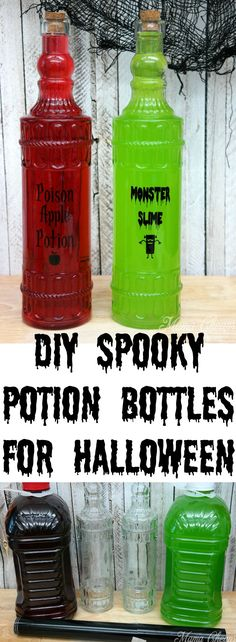 DIY Spooky Potion Bottle Tutorial for Halloween! Find more great craft ideas at MamaCheaps.com!