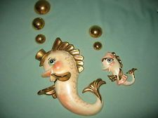 Ceramic Fish Wall Plaques with Bubbles Retro 1950's Large Dad Fish w Small Child