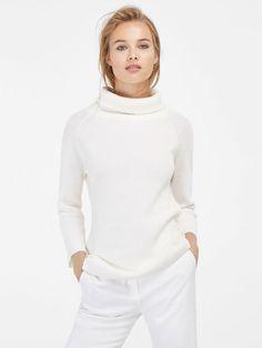 Massimo Dutti Tailorec Corner - Elegancja w kobiecej wersji na lato 2016 Pink Sweater Outfit, Sweater Cardigan, Fall Fashion 2016, Autumn Fashion, Massimo Dutti Online, Polo Neck, White Sweaters, Look Cool, Cardigans For Women