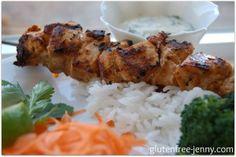 Gluten Free Coriander Chicken Kebabs (with Cilantro Yogurt Dip)