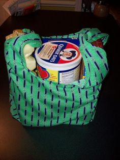 Easy Reusable Grocery Bag tutorial.  Could be made from old pillow cases/sheets/etc…give sets away as gifts.
