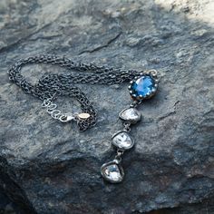 PRESERVE.us - Blue and Clear Crystal Drop Necklace - Jewelry - Shop