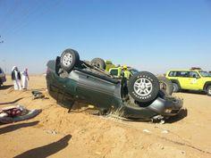 أصيب شخص وزوجته وعاملتهم المنزلية وذلك جراء انقلاب سيارتهم على طريق الزلفي -حفر الباطن-  الكويت لسيارة نوع جيب تحمل لوحات كويتية.