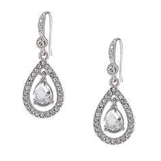 Carolee Kate Crystal Teardrop Pierced Earrings