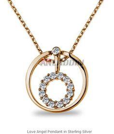 Love Angel Pendant in Sterling Silver Cheap Silver Jewelry, Crystal Jewelry, Angel Pendant, Pendant Necklace, Crystals, Sterling Silver, Diamond, Crystal, Diamonds