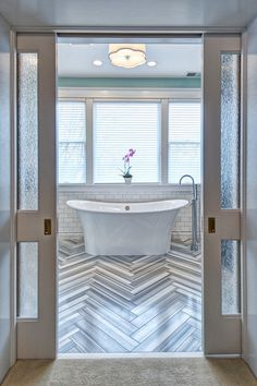 amazing floor!! // contemporary bathroom by Joni Spear Interior Design