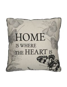 Featuring the cexpression 'Home Is Where The Heart Is', this cushion will add a style to your living space. Furniture Decor, Living Room Furniture, Laundry In Bathroom, Where The Heart Is, Duvet, Living Spaces, Cushions, Lounge, Throw Pillows