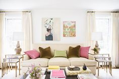 Neutral living room with pops of color: http://www.stylemepretty.com/living/2014/03/10/abby-larsons-home-tour-domino-mag-feature/