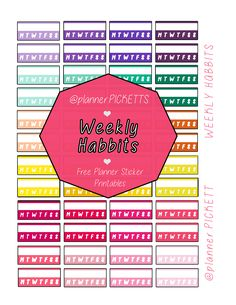 free weekly habits functional colorful  planner stickers free sticker printable , diy planner stickers @planner.PICKETT