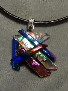 Pendant blues pink purple textured sparkle dichroic fused glass 1913 #Handmade #Pendant