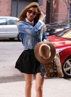 denim crop jacket, black skater skirt, white blouse, felt hat