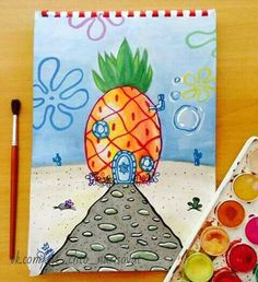 My Disney drawing - Live in a pineapple under the sea. - My Disney drawing – Live in a pineapple under the sea. Spongebob Drawings, Disney Drawings, Drawing Disney, Spongebob Painting, Cute Canvas Paintings, Mini Canvas Art, Painting Canvas, Pencil Art Drawings, Easy Drawings