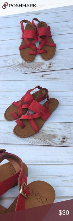 {Franco Sarto} strappy red sandals Cute red suede {Franco Sarto} sandals. Size 8.5 sandals have a toe ring & cris cross straps that come together around the heal with a buckle at the ankle. Only worn once! Franco Sarto Shoes Sandals