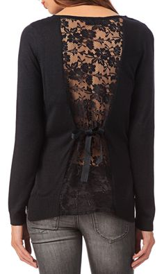 Black Lace Panel Blouse. I really want this shirt, so cute