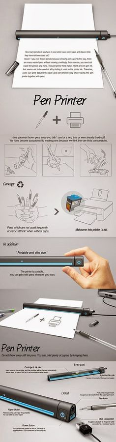 Interesting Stuff: Pen Printer : Use Old Pens as Ink to Print