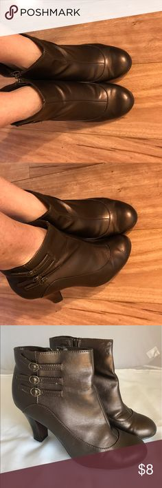 """Brown Booties with Tiny Side Buckle Details Like new except for tiny teeth marks from a Yorkie puppy.  They appear to be indentations. They're on the inside of the boot, near the zipper. They don't really show when you're wearing them.  3.0"""" heels. All man made materials. Predictions Shoes Ankle Boots & Booties"""
