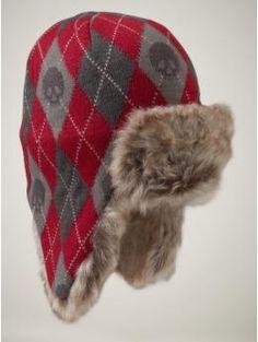 Argyle skull trapper hat