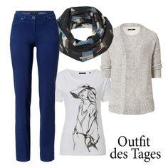 Erlebt euer blaues Wunder! Unsere neue Stretch-Hose in der Trendfarbe Blue ist nicht nur DER modische Hingucker des Frühjahrs, sondern passt auch noch hervorragend zum weißen Print-Shirt und zur Strickjacke. #outfitoftheday