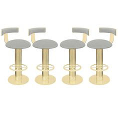 "Set of Four ""Excalibur Bar Stools"" in Channeled Brass by Design For Leisure $12000 