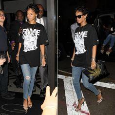 Rihanna in Frank 151 x Hall of Fame Chapter 51 Leaders t-shirt, Lynn Ban cross charm bracelets, vintage Versace bracelet, J Brand distressed skinny jeans, Roberto Cavalli python sandals, Le Specs bowie sunglasses