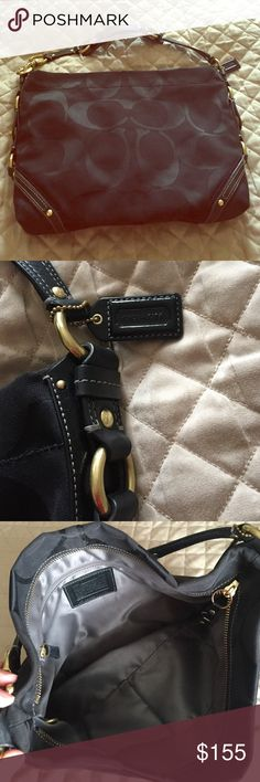 🎀Like New Coach Carly shoulder bag🎀 Perfect condition. Pretty much new without tags. Black bag with gold hardware. It has a gray lining on the inside. I'm not set on this price I would love to make a deal so use the offer button! 😊 Sorry 🚫No trades Coach Bags Shoulder Bags