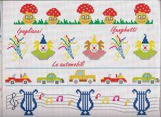 bordi punto croce bimbi con clown e funghetti rossi