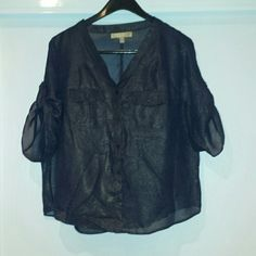 Black and Gold Blouse Black with gold stippling, sheer, short sleeved, blouse. Gently worn. Ellen Tracy Tops Blouses