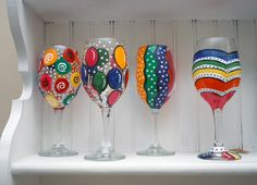 painting glassware | Hand Painted Birthday Wine or Champagne Glasses | CassandraMDesigns ...