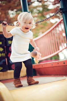 Moccasins and sweater dress.. I will have a fashionable little one like this :3