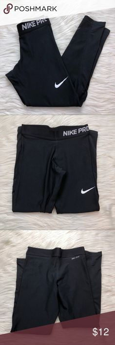 Girls Black Nike Pro Leggings Girls Black Nike Pro Leggings, Pre Owned With No Flaws, Excellent Like New Condition, Size Small Length 26 Inches Inseam 21 Inches Waist 11 Inches Nike Bottoms Leggings