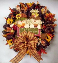 Fall Deco Mesh Wreath with Scarecrows