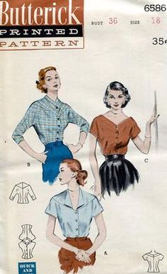 Sewing Patterns,Vintage,Out of Print,Retro,Vogue Simplicity McCall's,Over 7000 - Butterick 6586 Retro 1950's Blouse Neck Variations 36