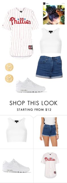 """Untitled #3"" by catrina-currie ❤ liked on Polyvore featuring Topshop, Nobody Denim, NIKE and Versace"