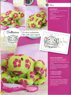 Crochet frog, Free Pattern (use arrows to see the other photo's)