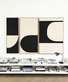 Liza Giles (This triptych is available in our online gallery 👉 link in bio) Triptych Art, Keramik Design, Abstract Geometric Art, Painting Abstract, Contemporary Wall Art, White Art, Art And Architecture, Printable Wall Art, Diy Art