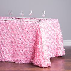 8 Ft Blush Pink Rosette Table Cloth by SparkleSoiree Rosette Tablecloth, Linen Tablecloth, Banquet Chair Covers, Realistic Rose, Wedding Tablecloths, Golden Birthday, Wedding Scrapbook, Rose Wedding, Mesas