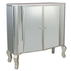 Mirrored 2 Door Cabinet with Champagne Trim