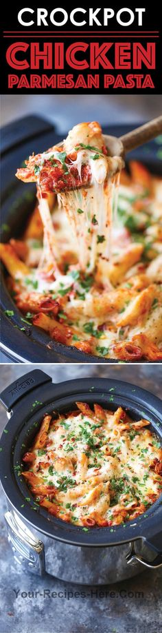 Save time/effort and make everyone's FAVORITE Italian dish in your crockpot. You can also freeze half for another meal! Ingredients Meat 4 Chicken breasts, boneless skinless Produce 1 tbsp Basil, dried 1 Onion 1 tsp Oregano, dried 1 tsp Parsley, dried 2 tbsp Parsley, fresh leaves 2 (28-ounce) cans Tomatoes  Pasta & Grains 1 lb Penne Baking & Spices 1 Kosher salt and freshly ground black pepper 1/2 tsp Red pepper flakes Dairy 1 1/2 cups Mozzarella cheese 1/4 cup Parme..
