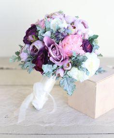 Silk Bridal Bouquet Purple Lavender Dusty Miller Garden Rustic Chic Wedding NEW 2014 Design by Morgann Hill Designs