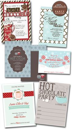 Hot Chocolate Party Invitations - a fun and unique idea for a bridal shower