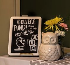 DIY chalkboard sign, owl piggy bank